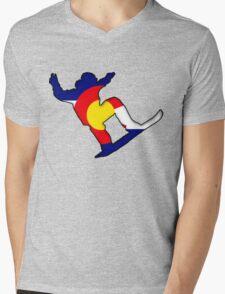 Colorado Flag Snowboarder Mens V-Neck T-Shirt