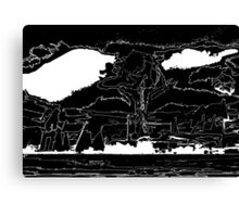 The End Black White Outline Canvas Print