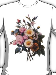 vintage botanical art, beautiful yellow daisy and pink rose flowers. T-Shirt
