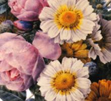 vintage botanical art, beautiful yellow daisy and pink rose flowers. Sticker
