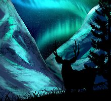 Deer, Mountains, and Aurora Lights by karentdq