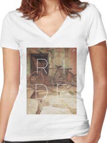 R I D E Women's Fitted V-Neck T-Shirt