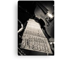 Sheet music & double bass Canvas Print