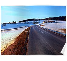 Country road through winter wonderland III | landscape photography Poster