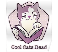Cool Cats Read Purple Cat Poster