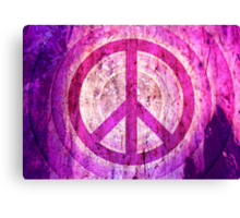 Peace Sign - Grunge Texture with Scratches Canvas Print