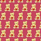 Cute Teddy Bear Pink Pattern by Boriana Giormova