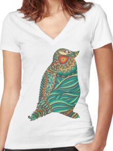 Ethnic Penguin Women's Fitted V-Neck T-Shirt