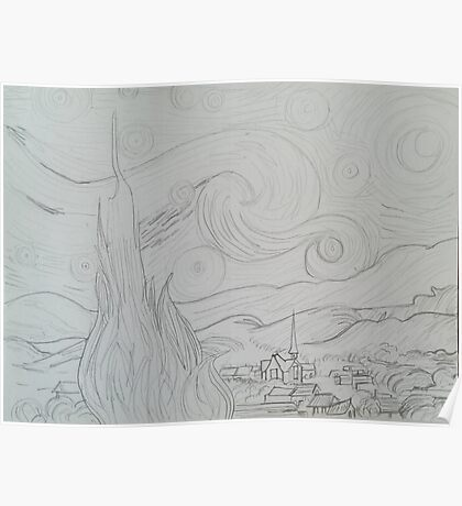 Artist Contours Project: Ode to van Gogh, Starry Night Poster