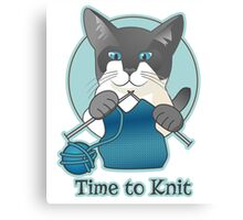Time to Knit Siamese Cat Knitting Canvas Print