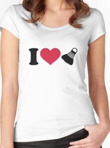 I love Badminton shuttlecock Women's Fitted Scoop T-Shirt