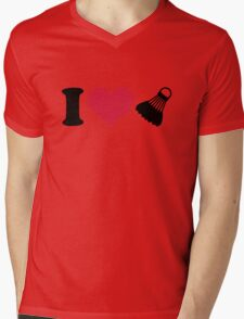 I love Badminton shuttlecock Mens V-Neck T-Shirt