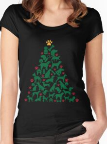 Christmas Animal Tree Women's Fitted Scoop T-Shirt