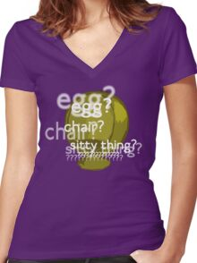 Egg? Chair? Sitty thing?  Women's Fitted V-Neck T-Shirt