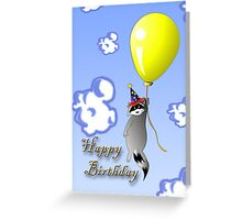 Clown Raccoon with Balloon Greeting Card