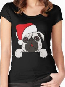 Christmas Dog - Pug Women's Fitted Scoop T-Shirt