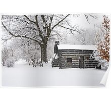 Log Cabin Snow Storm Poster