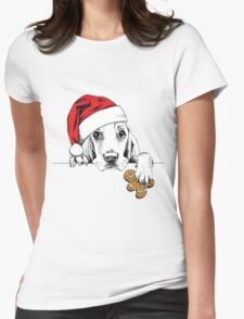 Christmas dog Womens Fitted T-Shirt