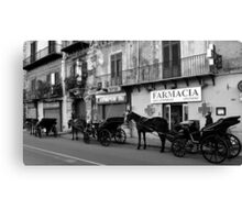 Horse Carriages in Palermo, Italy. 2014 Canvas Print