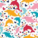 Cute colorful dolphins pattern by oksancia