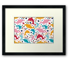 Cute colorful dolphins pattern Framed Print