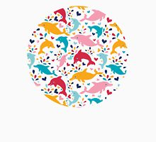 Cute colorful dolphins pattern Womens Fitted T-Shirt