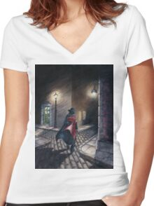Murder by Gas Lamp Women's Fitted V-Neck T-Shirt