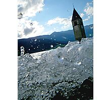 Bell tower emerging from a lake in the Alps waves water droplets fine art color photo - Il Tempio dell'Acqua Photographic Print