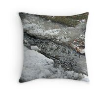 Mixture of Snow, Ice, Slush and Running Water  Throw Pillow