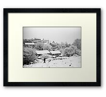Walking in the snow on Troopers Hill Framed Print