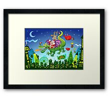 Santa changed his reindeer for a dragon Framed Print