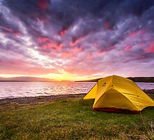 Our Tent at Sunset - Borgarvirki, Iceland by thewaxmuseum