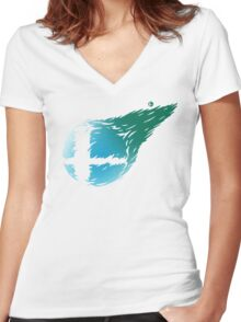 CLOUD SMASH Women's Fitted V-Neck T-Shirt