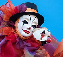 Portrait of Clown with Mask by zinchik