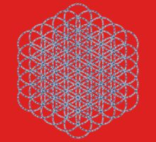 Flower Of Life - Sacred Geometry Blue T-Shirt