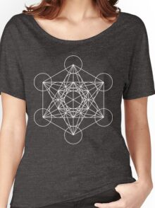 Metatron's Cube - Sacred Geometry White Ink Women's Relaxed Fit T-Shirt