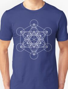 Metatron's Cube - Sacred Geometry White Ink T-Shirt