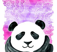 Lazy Panda on Pink & Purple by micklyn