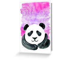 Lazy Panda on Pink & Purple Greeting Card
