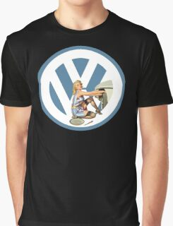 Volkswagen Pin-Up Damsel in Distress (blue) Graphic T-Shirt