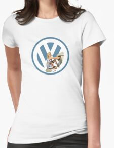 Volkswagen Pin-Up Damsel in Distress (blue) Womens Fitted T-Shirt