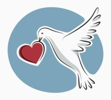 White dove carrying red love heart sticker by MheaDesign