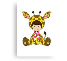 Cute Cartoon Giraffe Girl Canvas Print