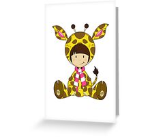 Cute Cartoon Giraffe Girl Greeting Card