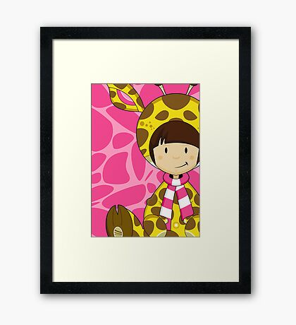 Cute Cartoon Giraffe Girl Framed Print