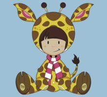 Cute Cartoon Giraffe Girl One Piece - Short Sleeve