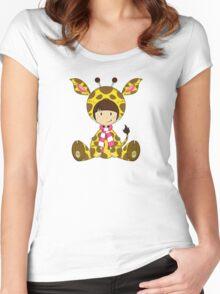 Cute Cartoon Giraffe Girl Pattern Women's Fitted Scoop T-Shirt