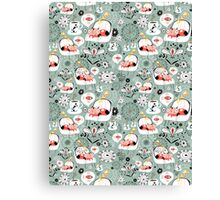 pattern with cats and mushrooms Canvas Print