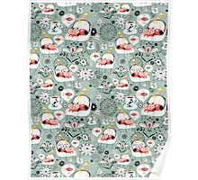 pattern with cats and mushrooms Poster
