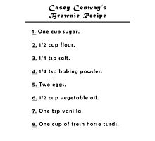 Casey Conway's Brownie Recipe Photographic Print